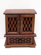 ANTIQUE WOODEN  2 DOOR JEWELLERY BOX