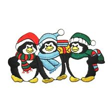 ID 8099 Winter Wear Penguin Trio South Pole Embroidered Iron On Applique Patch