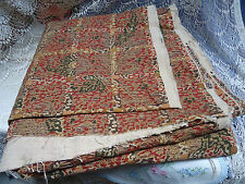"""Vtg P Kaufmann Upholstery Fabric Material Print Tan Red 232""""L 6+ Yards 58"""" Wide"""