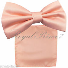 Light Peach Solid Butterfly Pretied Bow tie & Pocket Square Hanky Wedding B039