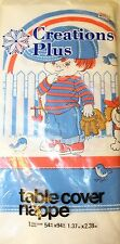 VTG Little Boy And Dog Picnic Party Theme Table Cover Made In Canada Lot Of 2