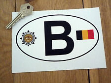 "B BELGIUM Automobile Club & Flag ID PLATE Car Sticker 6"" Van Nationality BELGIAN"