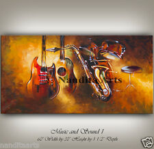 CONTEMPORARY ART, MUSIC ART, Original Large Guitar Painting, Red gold Artwork