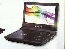 "Curtis 9"" Big Large LCD portable DVD player 2.5 hr Battery Black multi region B"