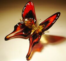"Blown Glass Figurine ""Murano"" Art Red and Black BUTTERFLY"