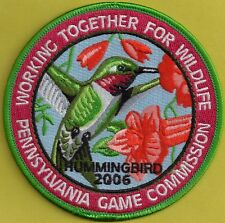 """Pa Pennsylvania Game Commission NEW 4"""" WTFW 2006 Ruby-Throated Hummingbird Patch"""