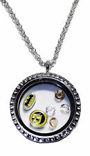DC Comics Batman and Robin Round Crystal Floating Charms Locket Necklace
