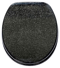 SOFT CLOSE TOILET SEAT | STABLE HINGES | SLOW CLOSE | GLITTER BLACK