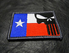 PUNISHER SKULL TEXAS FLAG EMBROIDERED  Tactical Morale 3 INCH velcro PATCH