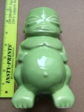 TIKI FARM MUG Ohana Luau On The Island 2014 HAWAII Polynesian Light Green Buddha
