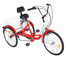 "3 WHEEL Adult Tricycle 24"" Trike 7 SPEED Bike Shimano Red"