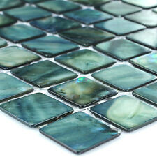 Glass Mosaic Tiles Pearlescent Effect Green - 1 Sheet