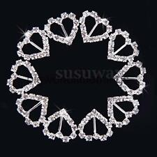 50x Heart Rhinestone Diamante Buckle Ribbon Slider Wedding Invitation Card Decor