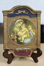 """Antique Religious Art Decoupage  - Madonna - Painted Gesso on Wood - 8"""" x 5.25"""""""