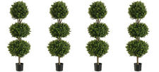 "4 Artificial 56"" Boxwood 3 Ball Topiary Tree W Pot In Outdoor Plant Patio Fake"