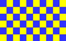 5Ft X 3Ft 5'X3' Flag Checkered Chequered Royal Blue & Yellow