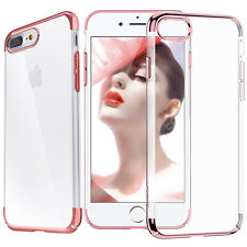 For iPhone 7 / 7 Plus Transparent Electroplate Metal Bumper Case +Glass Screen