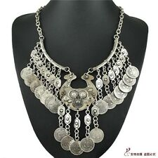 Charm Bohemian Silver Coins Tassel Belly Dance Chunky Pendant Bib Necklace Hot