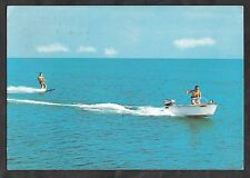 Postcard - View of water skiing on the Adriatic Riviera Stamp/postmark 1965