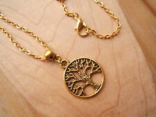 """Gold tone Sacred Tree of Life pendant necklace.18"""" chain pagan, wiccan"""