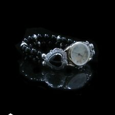 .925 Sterling Silver Natural Black Onyx Heart Concho Wristwatch WATCH