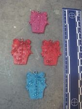 SET OF 4 RESIN WRAPPED GIFT BOX FLAT (ONE SIDED) MINIATURE CHRISTMAS ORNAMENTS