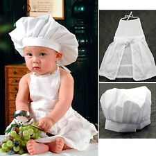 Baby Newborn Cute White Hat Apron Cook Costume Photos Photography Props