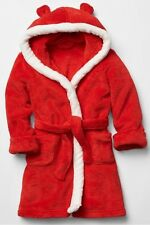 BABY GAP FESTIVE BEAR HOODIE ROBE - RED WITH WHITE TRIM - AGE 2 YRS BNWOT