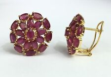 14k Solid Yellow Gold Cluster Round Omega Back Earrings, Natural Ruby 9TCW