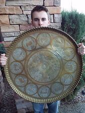 """HUGE Antique ISLAMIC/PERSIAN Hand Made Brass Serving Tray Platter Charger 26"""""""