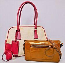 *Authentic PRADA Linen Canvas Boston & Brown Patent Leather Shoulder Bag 2P Set