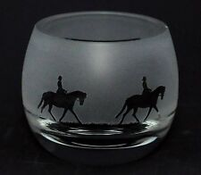 *LADY DRESSAGE* Boxed CRYSTAL GLASS TEA LIGHT CANDLE HOLDER