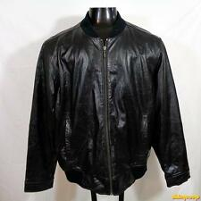 EDDIE BAUER Soft Lambskin Leather JACKET Mens Size L large black insulated