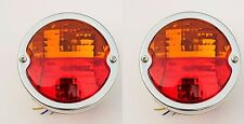 Pair Vintage Round Tractor Rear Tail Lamp Light with Licence Plate window 12V