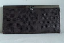 New Ladies Slim Fashion Clutch Purse with Word Design in Brown PVC Gift