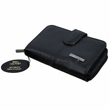 Ladies Womens Leather Purse Wallet Coin Card Holder Black Lorenz 1225 New