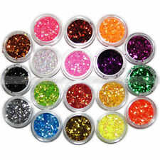 Nail Art 18 Color Tiny Hexagonal Flake Glitter Powder Acrylic UV Gel Decor Kit