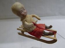 GERMAN - Miniature Cabinet Size HEUBACH Child (Girl) on Sled ~ MINT ~ #2
