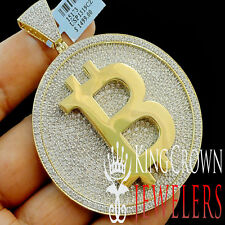 Mens Real Yellow Gold On Silver Custom Medallion Bitcoin QR Pendant Big XL 3''