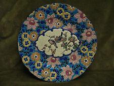 Belle assiette emaux de longwy cartouche et fleurs (longwy enamelled plate)