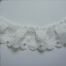 1yd Vintage Gathered Pearl Lace Edge Trim Bridal Wedding Pleated Organza Ribbon