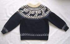 Dale Of Norway Turtle Neck Chunky Heavy Dense 100% Wool Dark Blue Sweater Size S