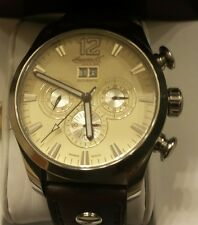 INGERSOLL  MEN'S WATCH AUTOMATIC CHAMPAGNE DIAL THICK  BROWN  LEATHER STRAP