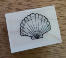 Wood Backed Rubber Stamp Hero Arts Sea Life Scallop Shell