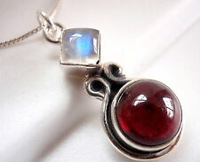 Rainbow Moonstone Garnet Necklace Two Gemstone 925 Sterling Silver Round Square