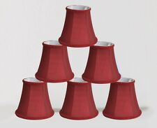 "Urbanest Chandelier Mini Lamp Shades,5"",Bell Silk,Burgundy, Braid Trim,Set of 6"
