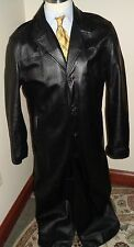 REDUCED! WILSONS LEATHER MENS LONG BLACK LEATHER TRENCH COAT MEDIUM Full Length