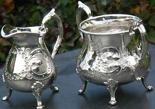 VICTORIAN SILVER PLATED MILK JUG & SUGAR BOWL - SMALLER SIZE - ANTIQUE