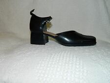 """Size 6 M Naturalizer Black Leather Pumps Ankle Strap. 2"""" Stacked Block Heels 147"""