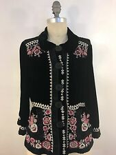 JOHNNY WAS HELMUT NORTH SILK VELVET JACKET BLACK SIZE S NWT